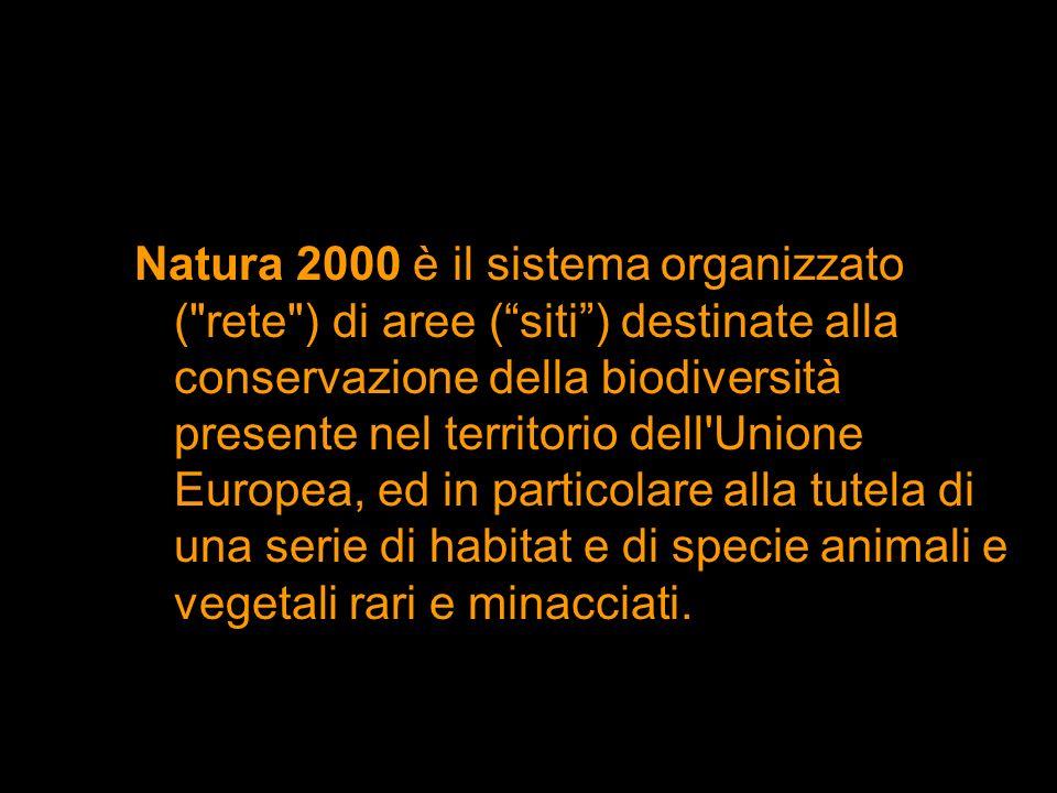 Natura 2000 è il sistema organizzato ( rete ) di aree ( siti ) destinate alla conservazione della biodiversità presente nel territorio dell Unione Europea, ed in particolare alla tutela di una serie di habitat e di specie animali e vegetali rari e minacciati.