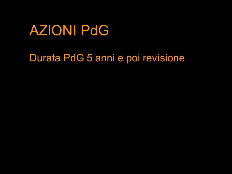 AZIONI PdG Durata PdG 5 anni e poi revisione