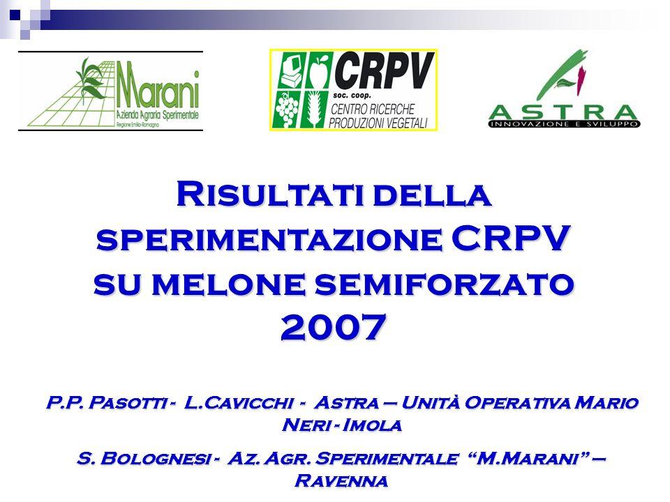 Risultati della sperimentazione CRPV su melone semiforzato 2007