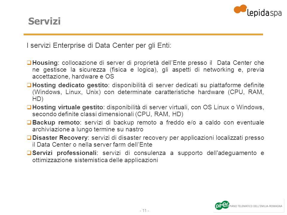 Servizi I servizi Enterprise di Data Center per gli Enti: