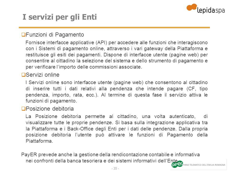 I servizi per gli Enti Funzioni di Pagamento Servizi online