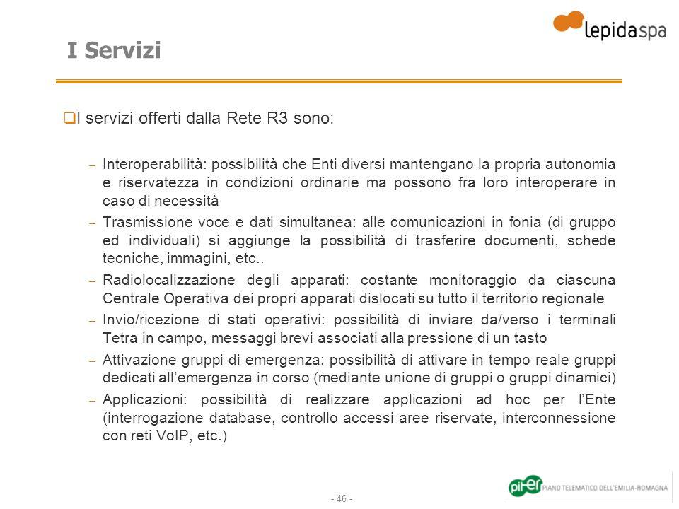 I Servizi I servizi offerti dalla Rete R3 sono: