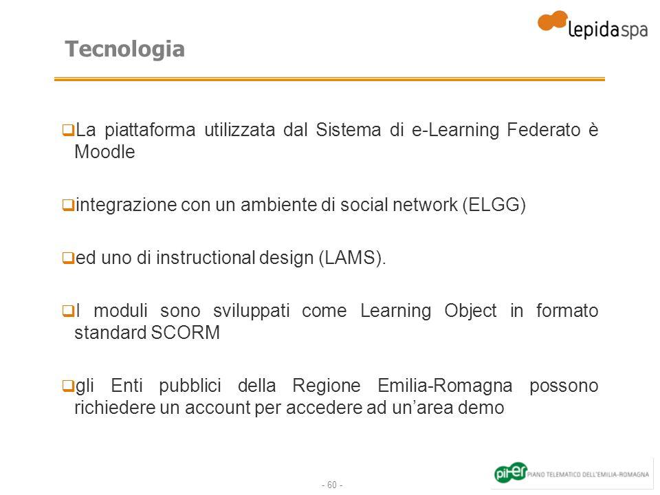 Tecnologia La piattaforma utilizzata dal Sistema di e-Learning Federato è Moodle. integrazione con un ambiente di social network (ELGG)