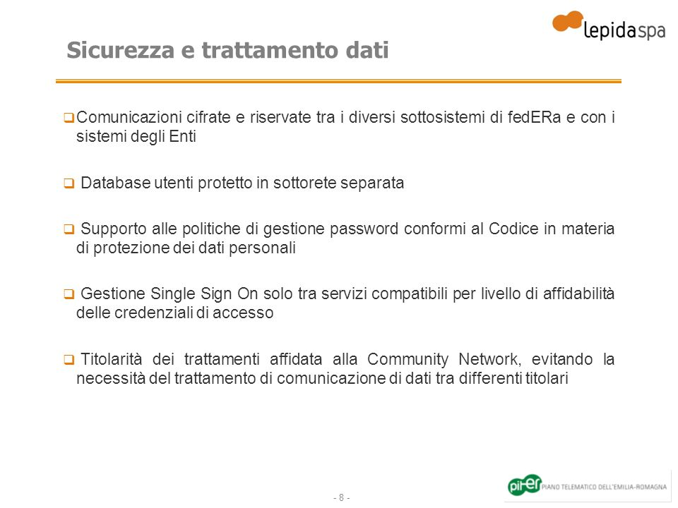 Sicurezza e trattamento dati