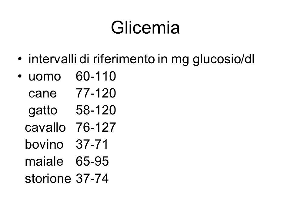 Glicemia intervalli di riferimento in mg glucosio/dl uomo 60-110