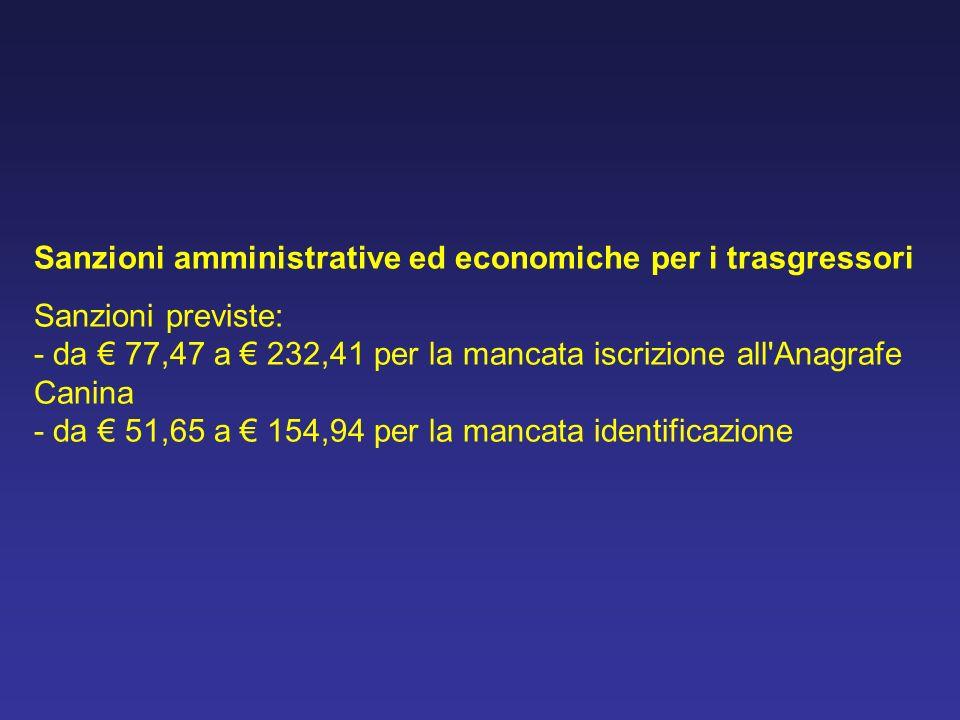 Sanzioni amministrative ed economiche per i trasgressori