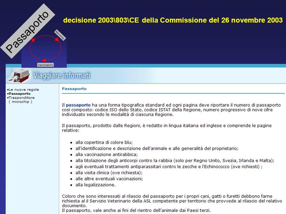 decisione 2003\803\CE della Commissione del 26 novembre 2003