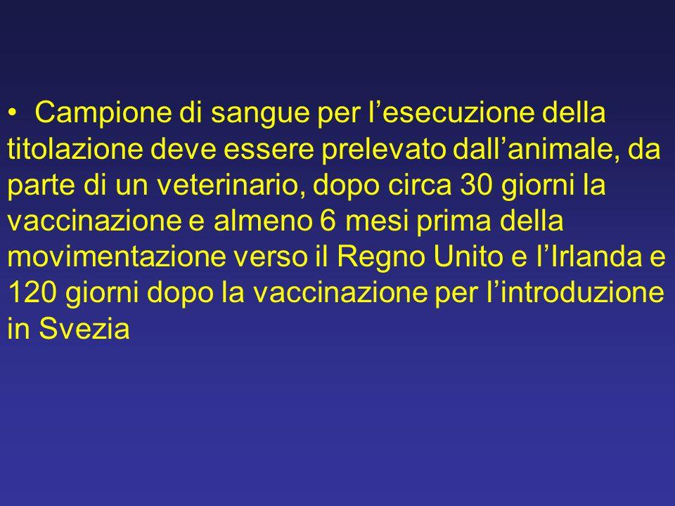 Campione di sangue per l'esecuzione della titolazione deve essere prelevato dall'animale, da parte di un veterinario, dopo circa 30 giorni la vaccinazione e almeno 6 mesi prima della movimentazione verso il Regno Unito e l'Irlanda e 120 giorni dopo la vaccinazione per l'introduzione in Svezia