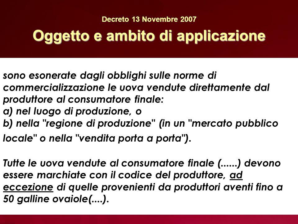Decreto 13 Novembre 2007 Oggetto e ambito di applicazione