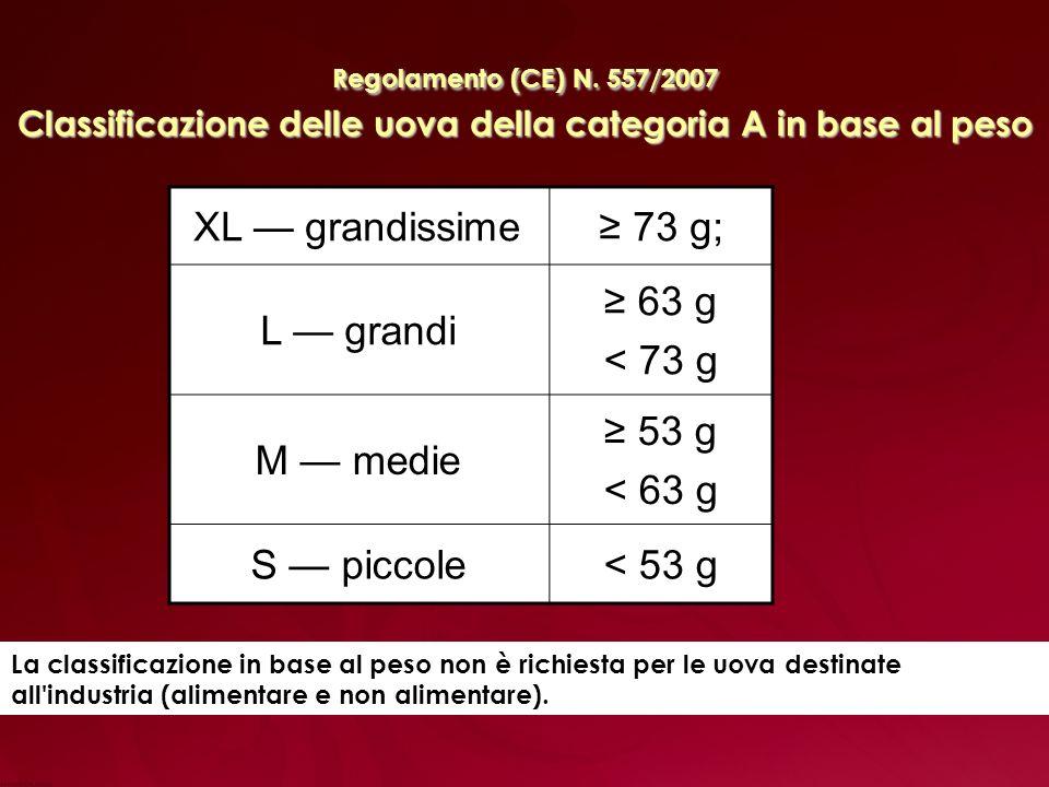 XL — grandissime ≥ 73 g; L — grandi ≥ 63 g < 73 g M — medie ≥ 53 g