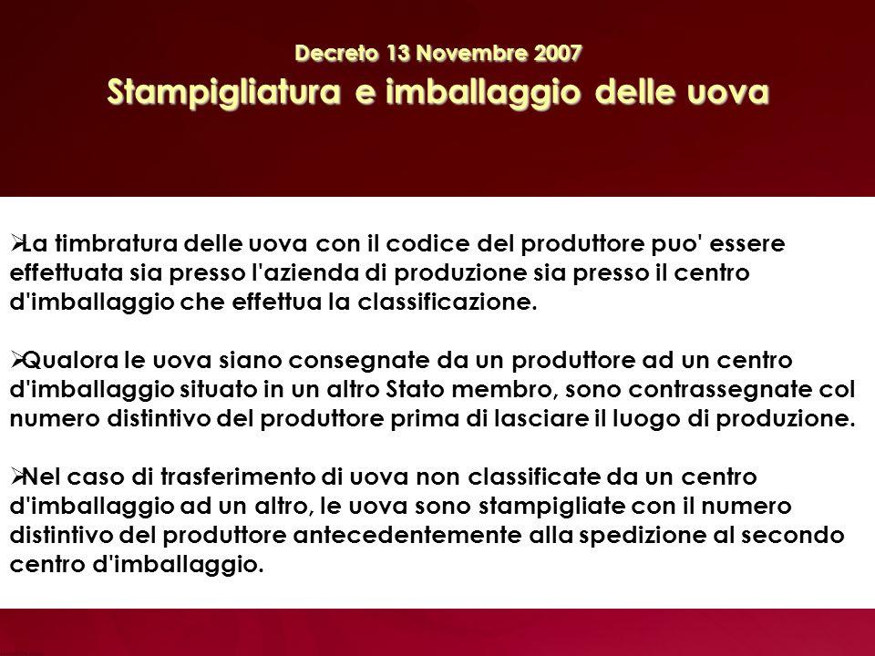 Decreto 13 Novembre 2007 Stampigliatura e imballaggio delle uova