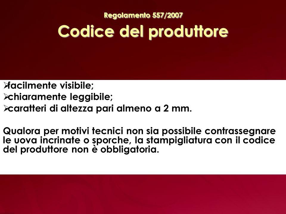 Regolamento 557/2007 Codice del produttore