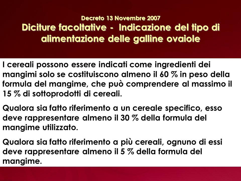 Decreto 13 Novembre 2007 Diciture facoltative - Indicazione del tipo di alimentazione delle galline ovaiole