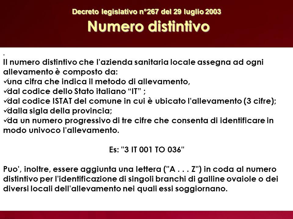Decreto legislativo n°267 del 29 luglio 2003 Numero distintivo