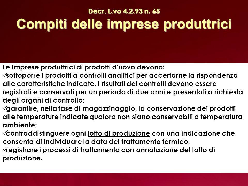 Decr. L.vo 4.2.93 n. 65 Compiti delle imprese produttrici