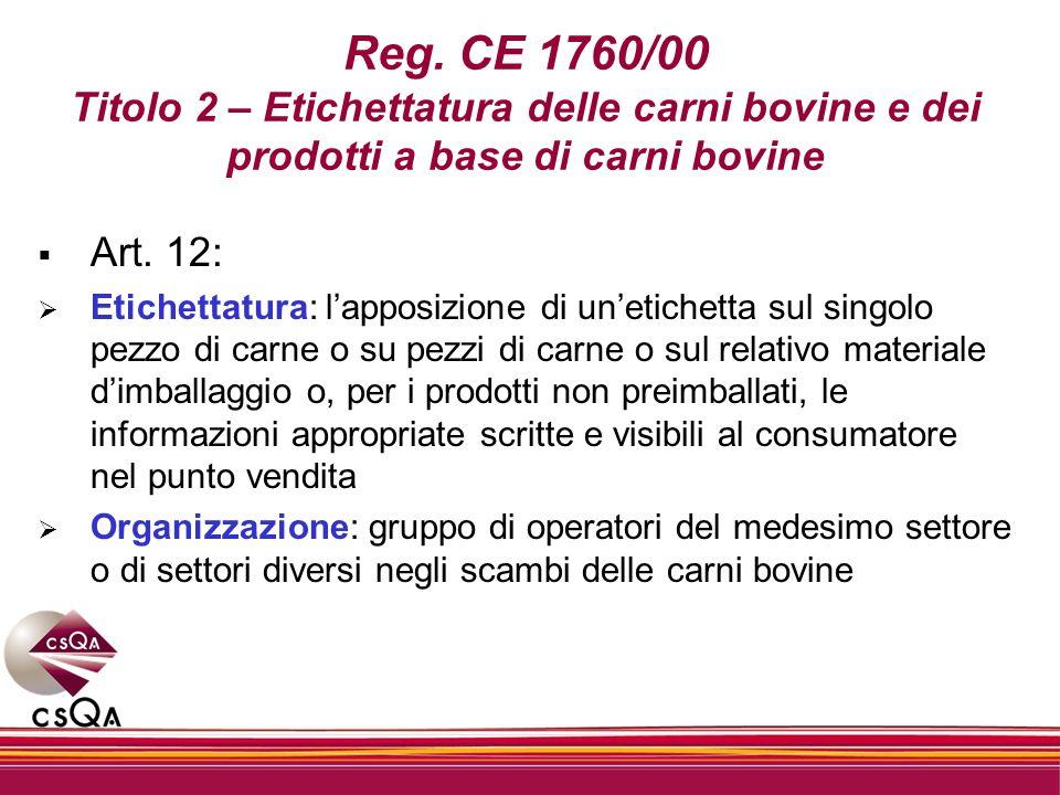 Reg. CE 1760/00 Titolo 2 – Etichettatura delle carni bovine e dei prodotti a base di carni bovine