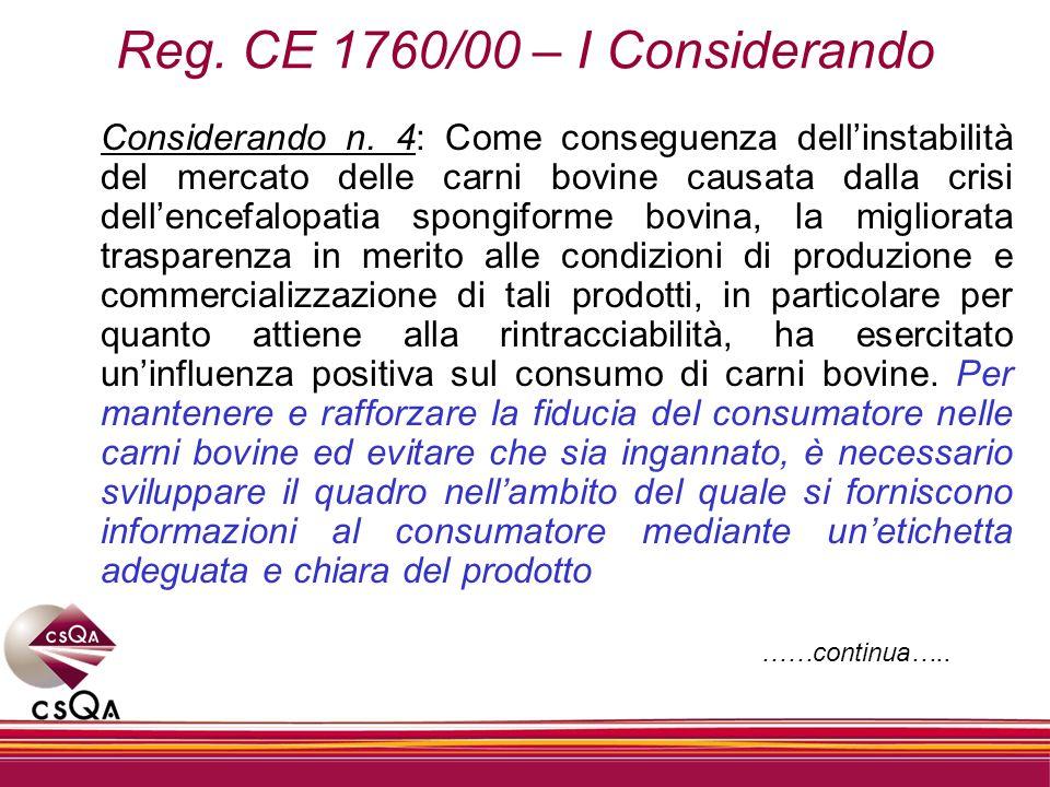 Reg. CE 1760/00 – I Considerando