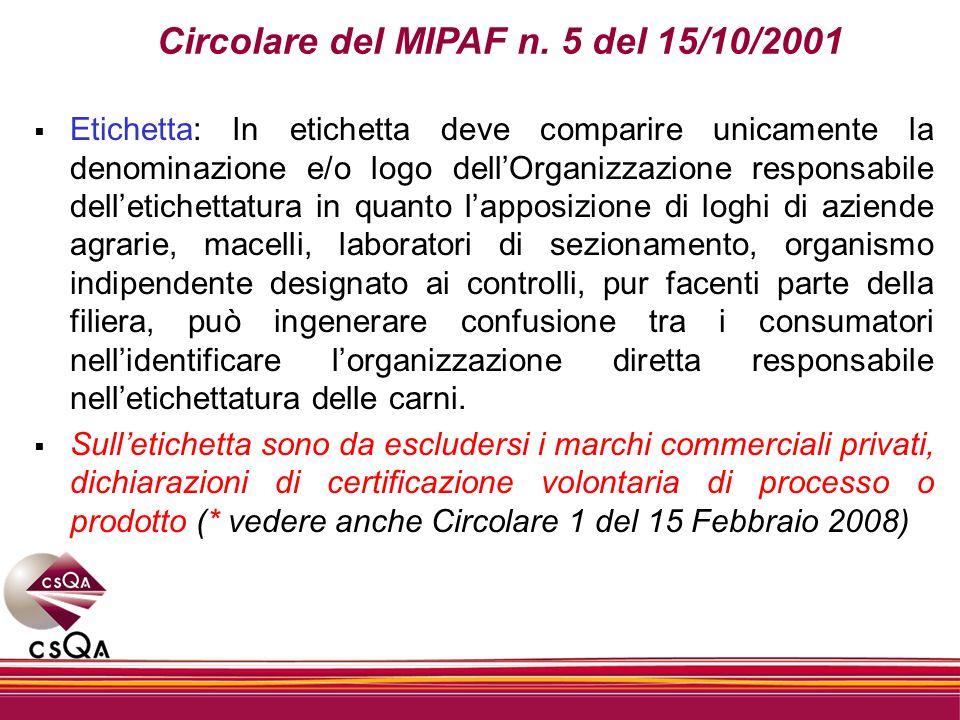 Circolare del MIPAF n. 5 del 15/10/2001