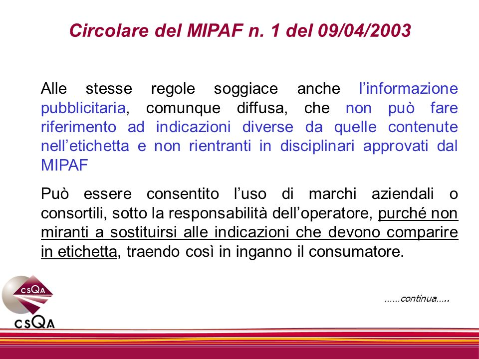 Circolare del MIPAF n. 1 del 09/04/2003