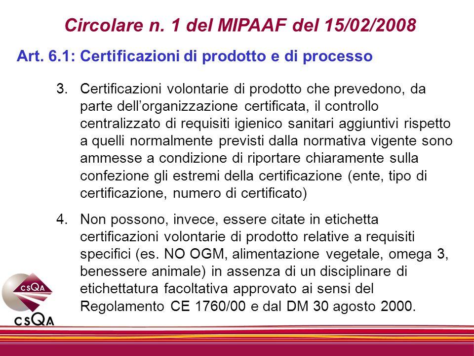 Circolare n. 1 del MIPAAF del 15/02/2008