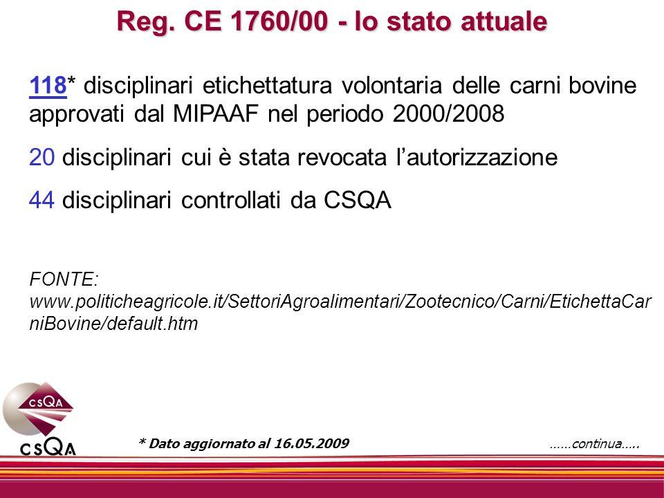 Reg. CE 1760/00 - lo stato attuale