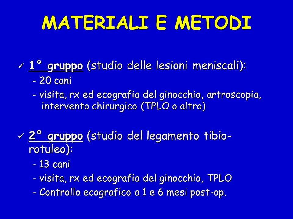 MATERIALI E METODI 1° gruppo (studio delle lesioni meniscali):