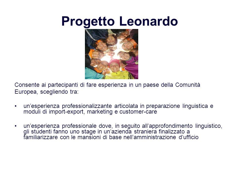 Progetto Leonardo Consente ai partecipanti di fare esperienza in un paese della Comunità. Europea, scegliendo tra: