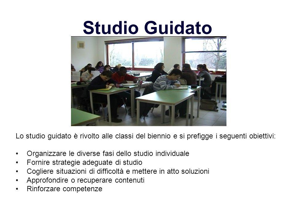 Studio Guidato Lo studio guidato è rivolto alle classi del biennio e si prefigge i seguenti obiettivi: