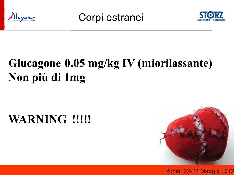 Glucagone 0.05 mg/kg IV (miorilassante) Non più di 1mg