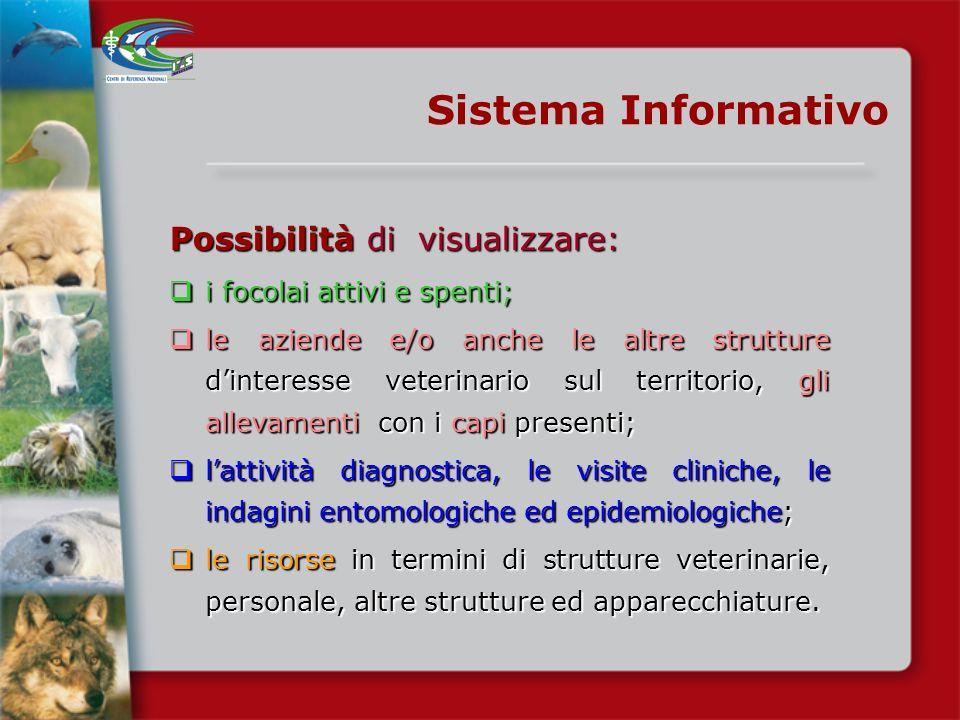 Sistema Informativo Possibilità di visualizzare: