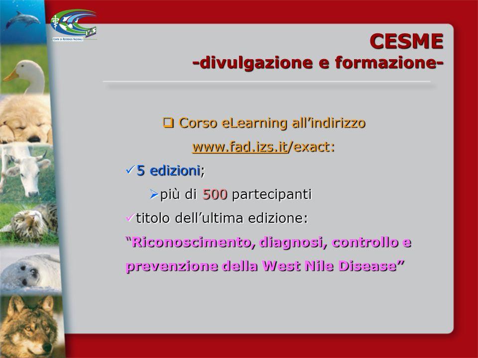 Corso eLearning all'indirizzo www.fad.izs.it/exact: