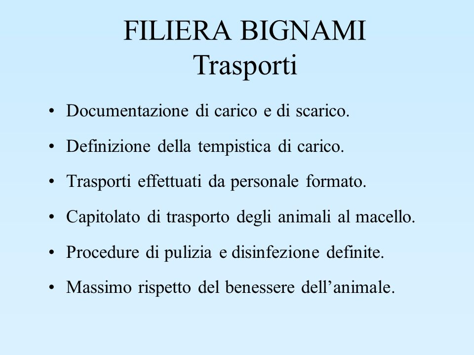 FILIERA BIGNAMI Trasporti