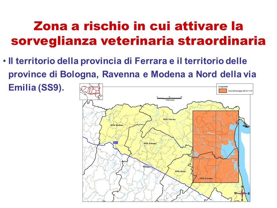 Zona a rischio in cui attivare la sorveglianza veterinaria straordinaria