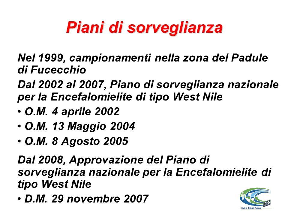 Piani di sorveglianza Nel 1999, campionamenti nella zona del Padule di Fucecchio.