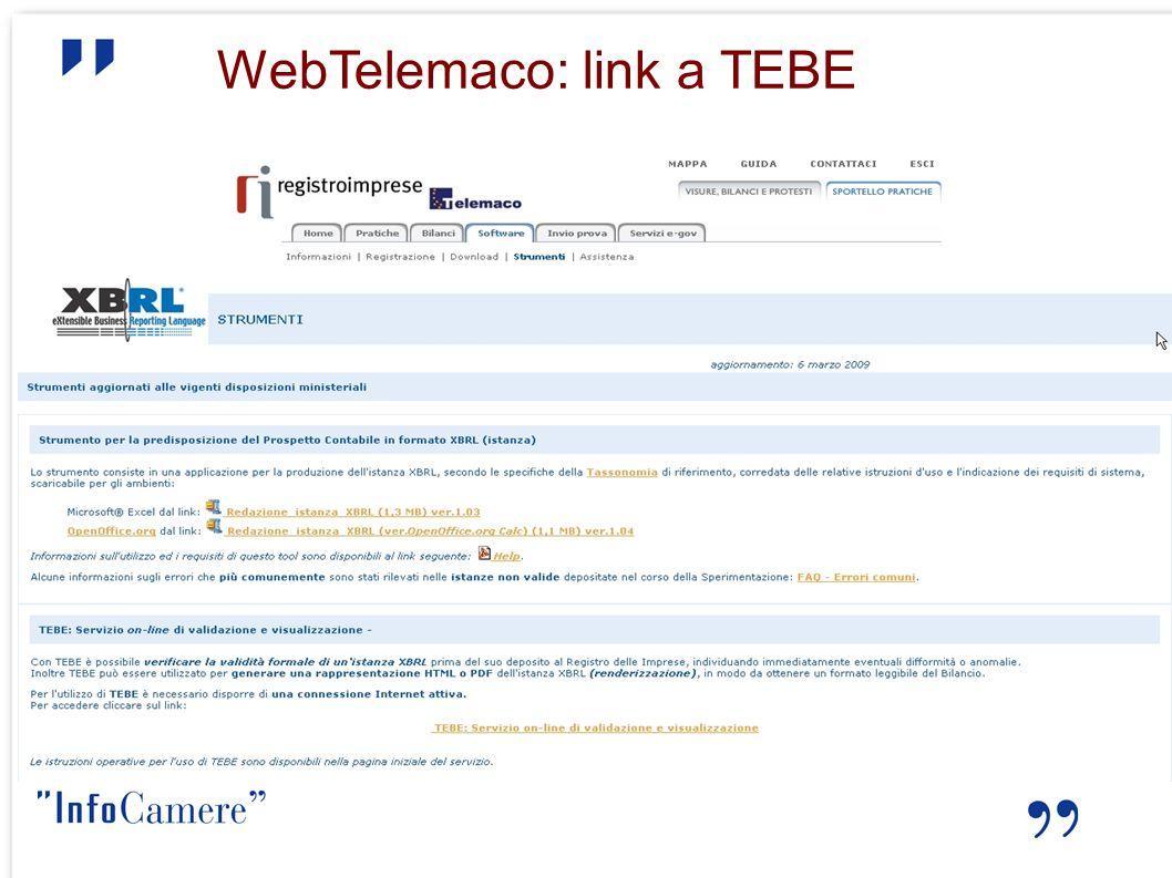 WebTelemaco: link a TEBE