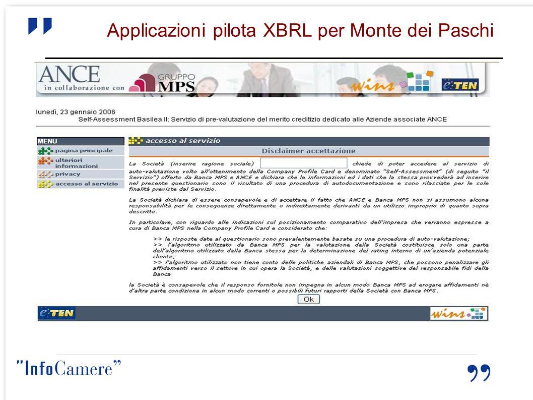 Applicazioni pilota XBRL per Monte dei Paschi