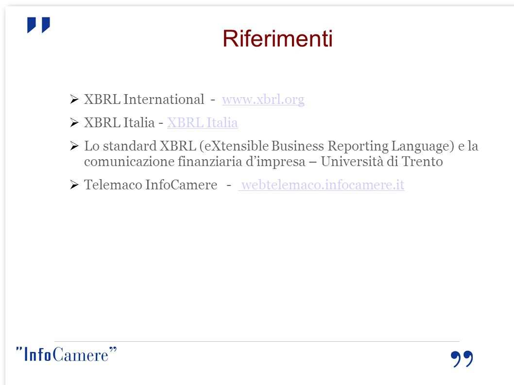 Riferimenti XBRL International - www.xbrl.org