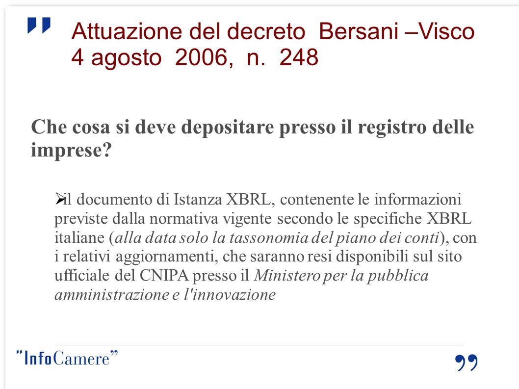 Attuazione del decreto Bersani –Visco 4 agosto 2006, n. 248