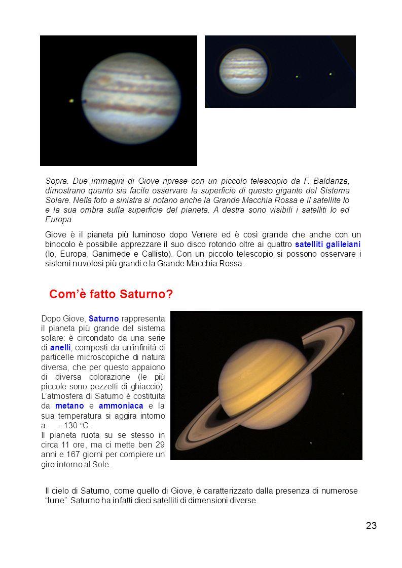 Sopra. Due immagini di Giove riprese con un piccolo telescopio da F