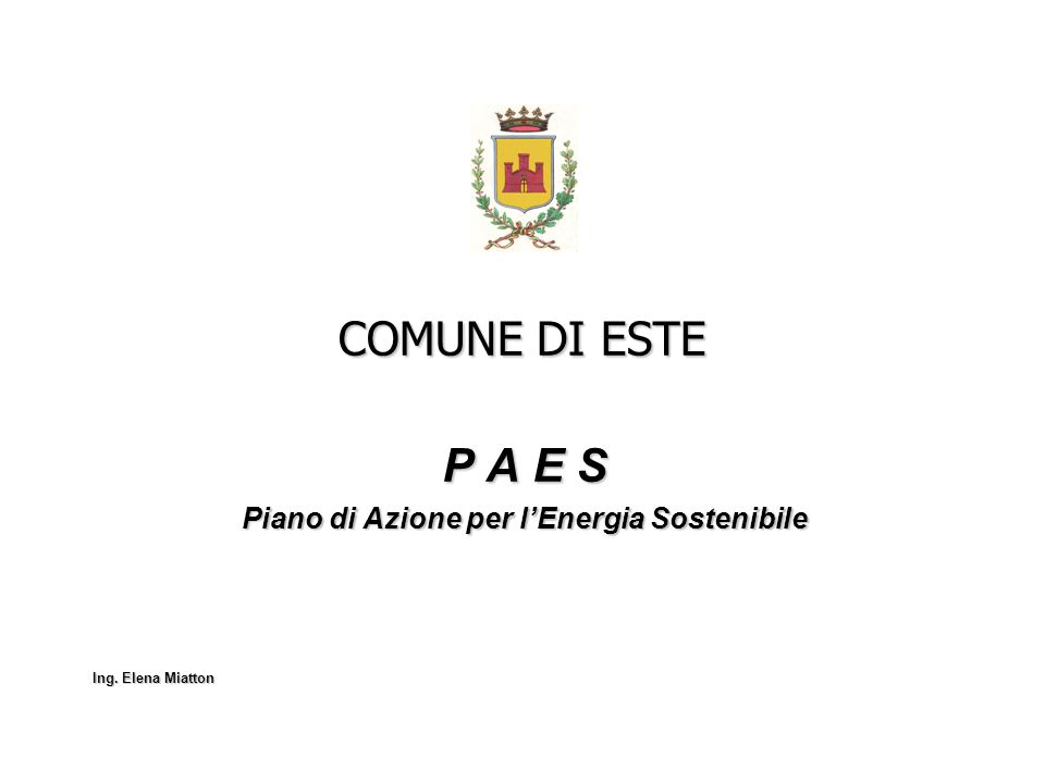 P A E S Piano di Azione per l'Energia Sostenibile Ing. Elena Miatton