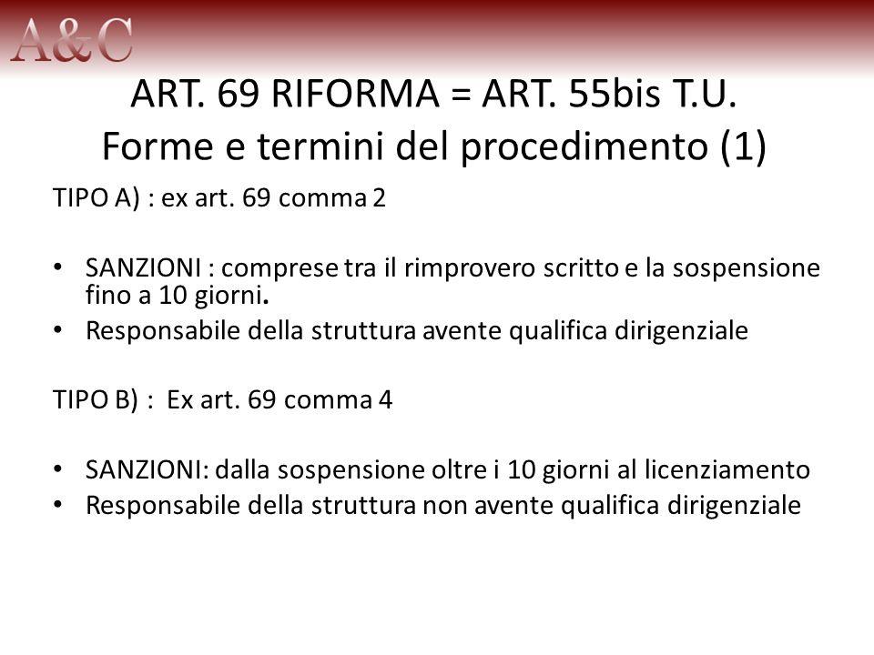 ART. 69 RIFORMA = ART. 55bis T.U. Forme e termini del procedimento (1)