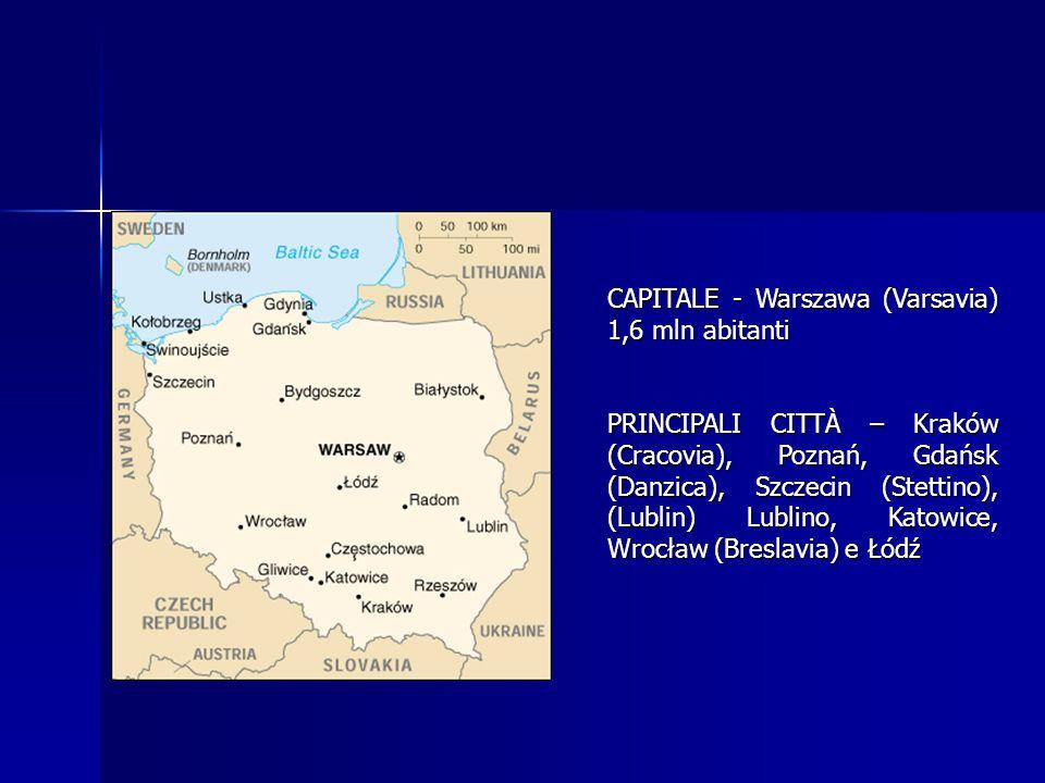 CAPITALE - Warszawa (Varsavia) 1,6 mln abitanti