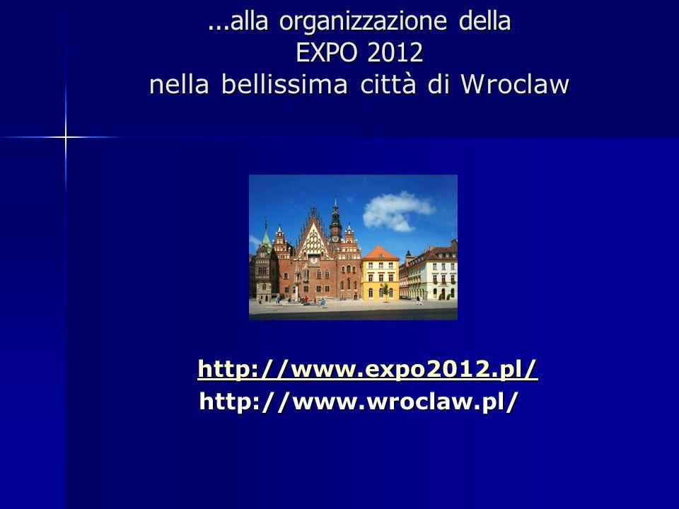 ...alla organizzazione della EXPO 2012 nella bellissima città di Wroclaw
