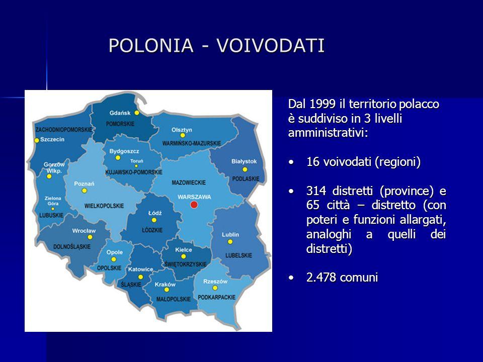 POLONIA - VOIVODATI Dal 1999 il territorio polacco