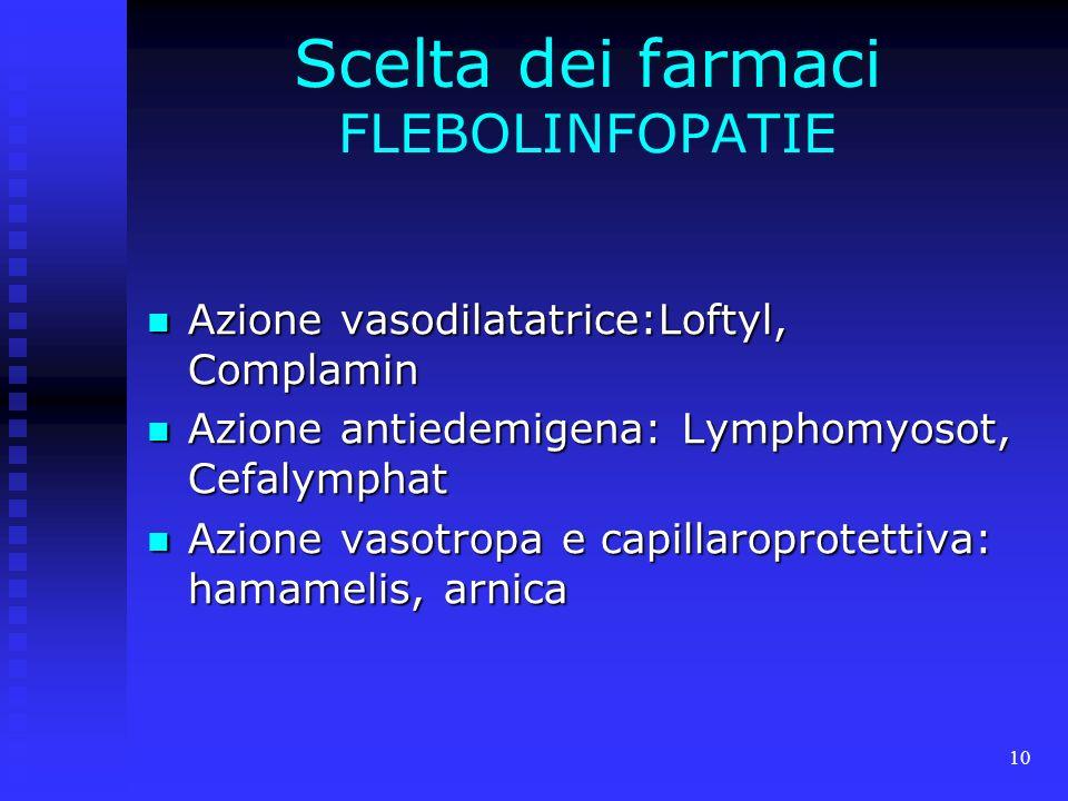 Scelta dei farmaci FLEBOLINFOPATIE