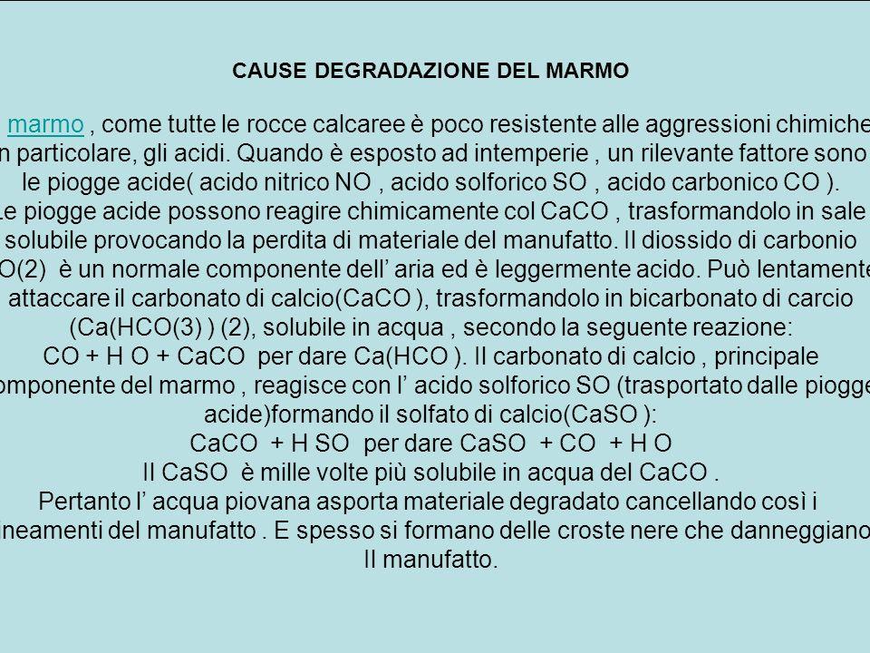CAUSE DEGRADAZIONE DEL MARMO