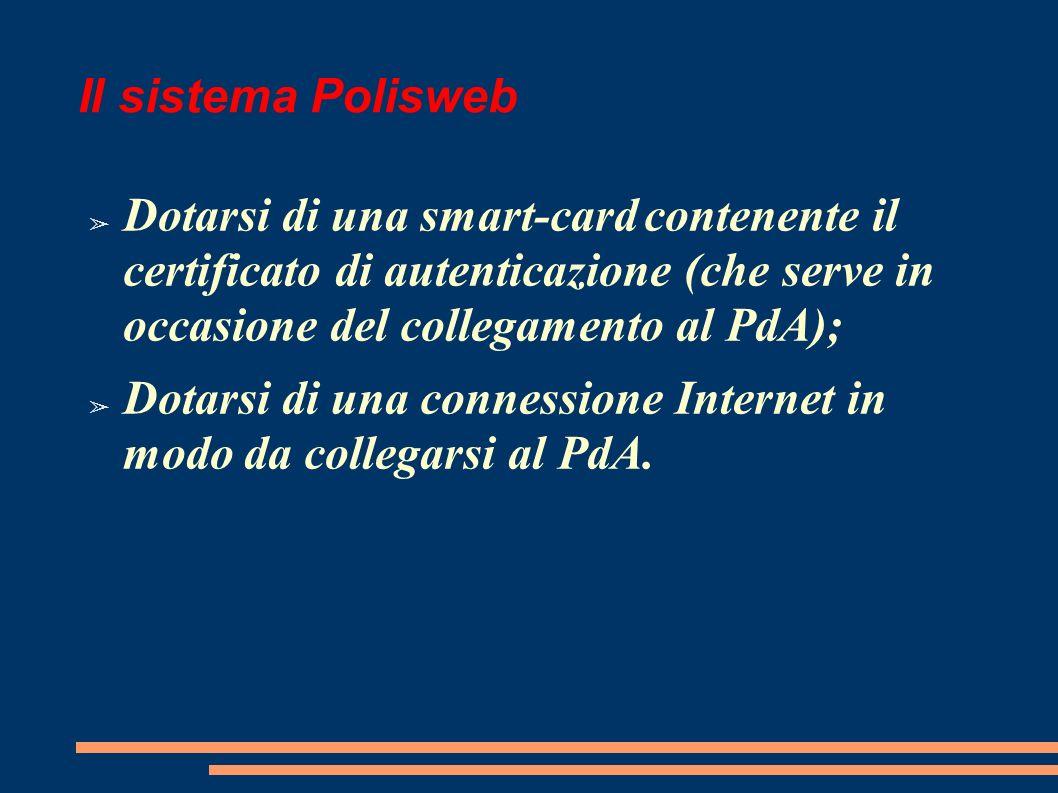 Il sistema Polisweb Dotarsi di una smart-card contenente il certificato di autenticazione (che serve in occasione del collegamento al PdA);