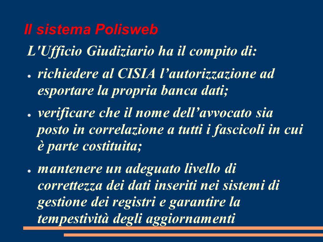 Il sistema Polisweb L Ufficio Giudiziario ha il compito di: richiedere al CISIA l'autorizzazione ad esportare la propria banca dati;