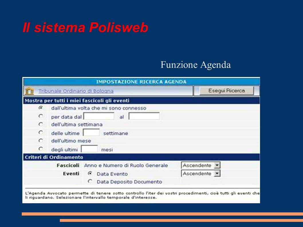 Il sistema Polisweb Funzione Agenda