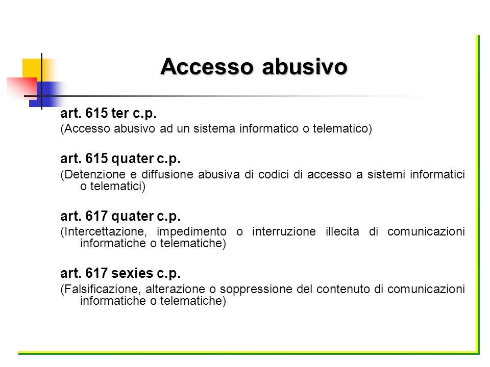 Accesso abusivo art. 615 ter c.p. art. 615 quater c.p.